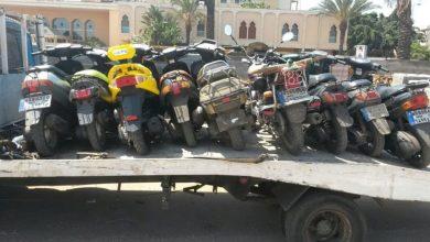 صورة أمن البيضاء يحجز المئات من الدراجات النارية المخالفة للقانون